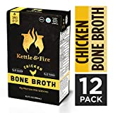 Chicken Bone Broth Soup by Kettle and Fire, Pack of 12, Keto Diet, Paleo Friendly, Whole 30 Approved, Gluten Free, with Collagen, 7g of protein, 16.2 fl oz