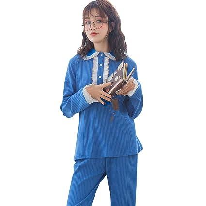 7fab2d5e5 Ropa para Dormir Pijamas Mujeres Embarazadas de algodón de Manga Larga  camisón de Encaje Azul Embarazo