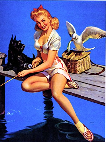 - A SLICE IN TIME 1940s Pin-Up Girl Fishing with Scottie Scottish Terrier Dog and Seagull Vintage Picture Poster Print Art Pin Up. Measures 10 x 13.5 inches