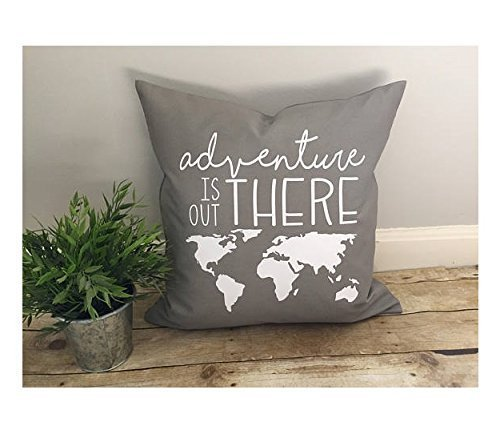Adventure is out there pillow cover, adventure lover gift, world map pillowcase, rustic decor, love pillow cover, simple chic, Disney's UP quote, inspirational, christmas - Lagoon Disney Map