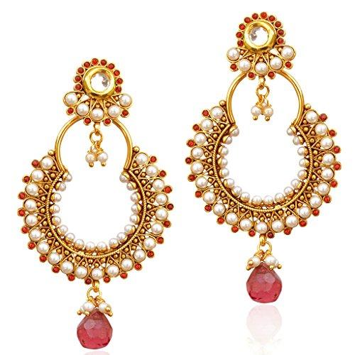 Traditional Indian Artisan Jewelry Gold Tone Faux Pearl Polki Dangler EarringsABEA0265RA