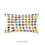VROSELV Custom pillowcasesAnimation Cute Little Graphic Baby Mosters Great for Kids Nursery Room Colored Cartoons Art for Bedroom Living Room Dorm Multicolor(14''x24'')