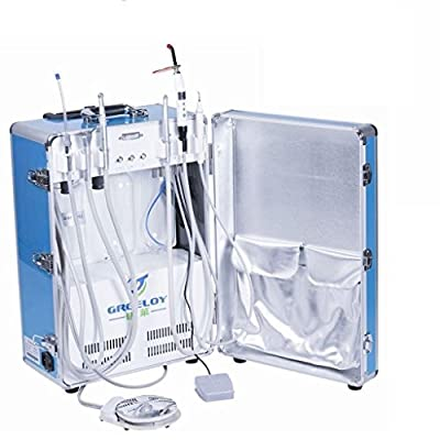 Superdental GU-206,GU-206S Portable Unit Air Compressor Built-in with 3-way Syringe, Saliva Ejector, LED Light Cure Lamp High and Low Speed Air Turbine Tube (2 Holes) 600W