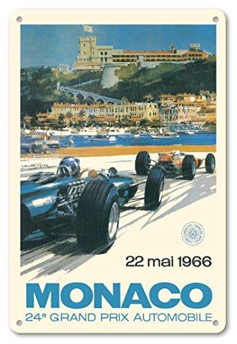 Pacifica Island Art 8in x 12in Vintage Tin Sign - Monaco 24e Grand Prix Automobile 1966 (24th Monaco Car Racing GP) - Circuit de Monaco, Monte Carlo by Michael Turner