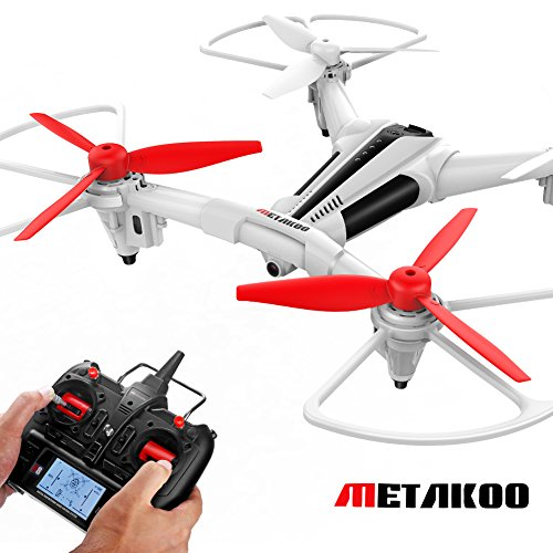 Price comparison product image METAKOO X300 RC Toy Drone with Wide-angle 720P HD Camera,  Optical Flow Positioning,  Altitude Hold Big Outdoor Helicopter,  Quadcopter with LCD,  3D Flips
