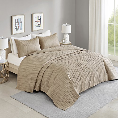 Bedspreads King Overize Quilt Set - everyday Kienna 3 Piece sleek and chic Filling Bedding Cover - Taupe Stitched Quilt Pattern - All Season Hypoallergenic - Oversized King Coverlet 120