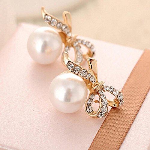 Drop Crystal Lady Rhinestone Earrings Pearl Ear Stud ()