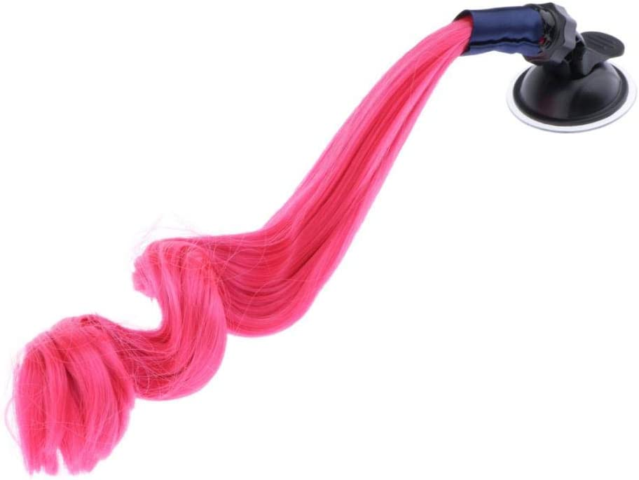 B Baosity Helmet Pigtails Fluffy Curly Hair Decoration with Suction Cup Fit for Motorcycle Bicycle Bike Helmets Universal Pink Yellow White