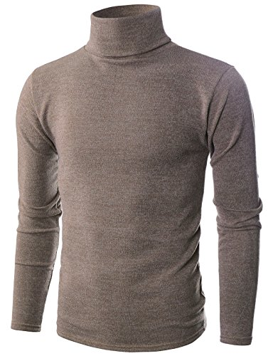 Ohoo Mens Slim Fit Soft Cotton Blend Turtleneck Pullover Sweater/DCP006-BEIGE-L ()