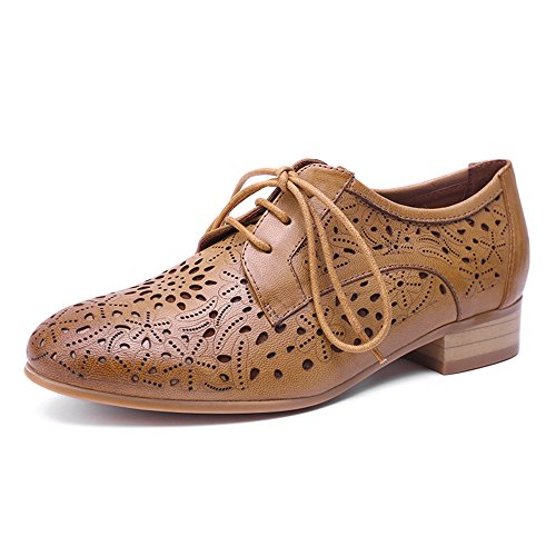 Mona flying Womens Leather Lace-up Dress Oxfords Derby Shoes for Womens Ladies Brown
