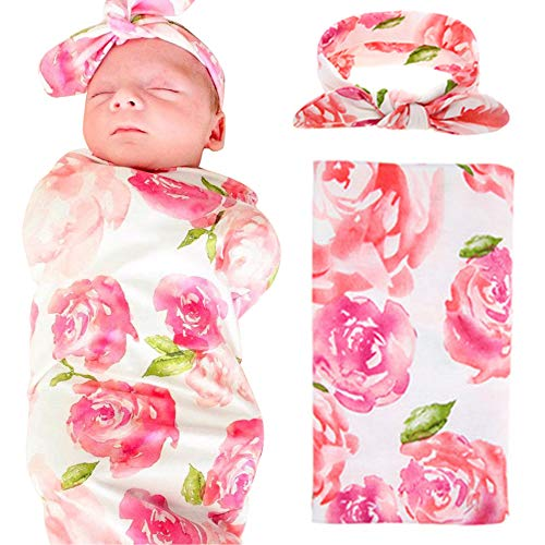 Newborn Floral Swaddle BQUBO Receiving Blanket With Headbands Toddler Warm Baby Shower Gift(Pack 1) (Pink B)
