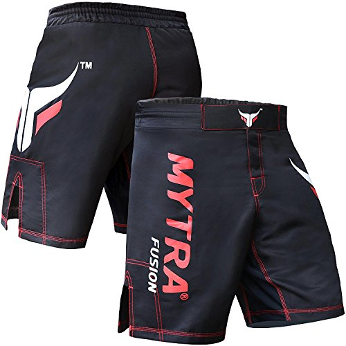 Mytra Fusion Black MMA Shorts Combat Shorts for Boxing MMA Muay Thai Gym Workout Bjj Thai Trunks Satin Shorts Mix Martial Arts Cage Fighting Grappling Sparring Training Punching Kick Boxing Shorts