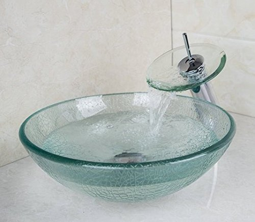 GOWE Cracked Style Tempered Glass Vessel Round Sink With Pop-Up drain and Single Handle Faucet and Mounting Ring 1