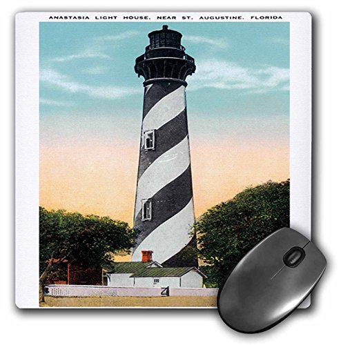 3dRose LLC 8 x 8 x 0.25 Inches Mouse Pad, Anastasia Light House, St. Augustine, Florida - (mp_169573_1)