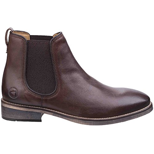 Cotswold Mens Corsham Town Leather Pull On Casual Chelsea Ankle Boots Dark Brown