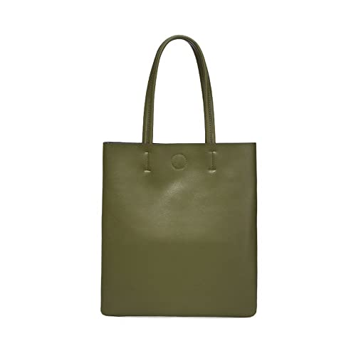 Amazon.com  Genuine Leather Bag Women Handbag Simple Fashion Cowhide Shoulder  Bags Large Capacity Ladies Tote Bag (Army Green)  Shoes 4fbbf0a2176d3