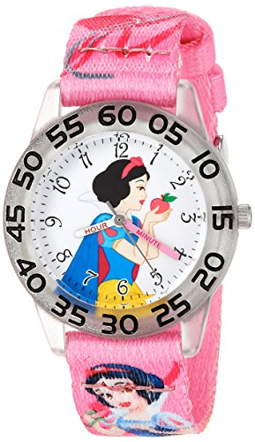 Disney Girl's 'Snow White' Quartz Plastic and Nylon Casual Watch, Color:Pink (Model: WDS000128)