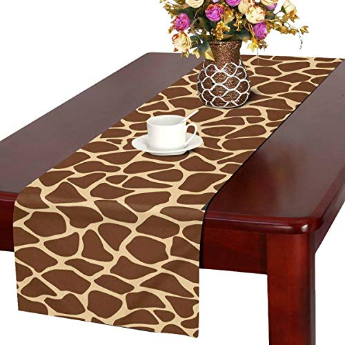 INTERESTPRINT Rectangle Table Runner for Family Dinners or Gatherings, Parties Giraffe Fur Pattern Brown Animal Skin (14x72 Inchs) ()