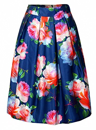 Alaroo Women's Floral Peony Printed Blue Knee Length Midi Skirt with Pleat (Knee Length Pleats Skirt)