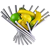 Landtom Creative Stainless Steel Rotation Fruit Bowl/Fruit Basket/Fruit Stand/Fruit Holder with Free Orange Peeler, Silver, Fulfilled by Amazon