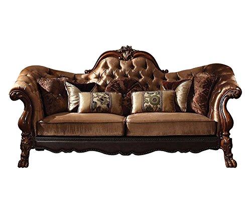 ACME Dresden Golden Brown Velvet Sofa with 7 Pillows