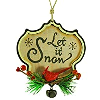 """Retro Wood """"Let It Snow"""" Ornament with Red Cardinal"""