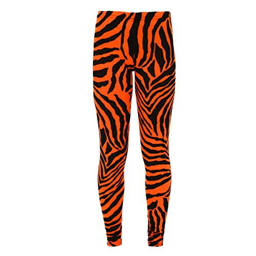 [KIDS GIRLS Florescent Animal Printed Zebra Dance Casual Leggings Age 7-13 Years (13 years, Neon] (Simple Cheer Dance Costumes)