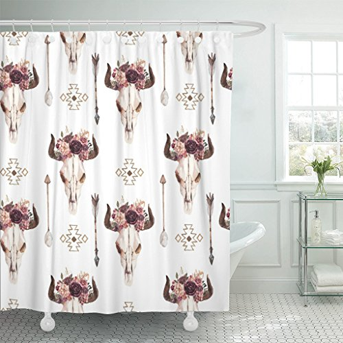 TOMPOP Shower Curtain Watercolor Ethnic Boho of Bull Cow Skull Horn Floral Waterproof Polyester Fabric 72 x 78 Inches Set with Hooks ()