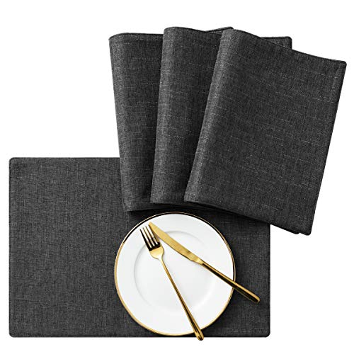 SyMax Table Placemats Linen Set of 4 Heat Resistant Hard Table Mats Washable Cloth Table Runner for Dining Room,Party(Grey, 4pcs)
