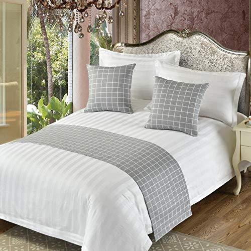 QCQZP Bed Runner Five-Star Hotel Hotel Bedding European-Style Simple Modern Bed Linen Bed Cover Bed Flag Festive Decoration Snapped, Light Gray Summer Gray, Bed Towel 2.0 Meters Bed 50X260