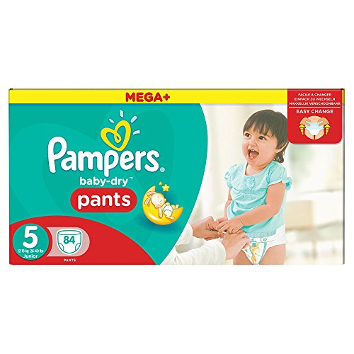 Pampers Baby Dry Pants Windeln, Mega Plus Pack, Größe 5 (Junior), 12-18 kg, (1 x 84 Windeln)