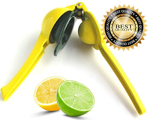 ChefsGrade Lemon Lime Squeezer and Manual Juicer Press - Dual Bowl - Solid Diecast Aluminum - Citrus Fruits Wedges Small Oranges and Slices (Red Cast Iron Citrus Juicer compare prices)