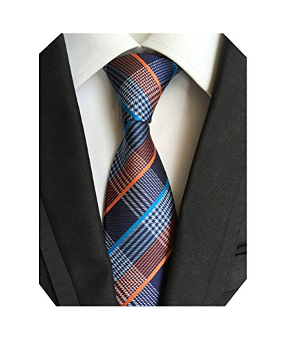 Orange Tie And Blue (MINDENG Fine Lines Gray Blue Jacquard Woven 100% Silk Men's Tie Wedding Necktie)