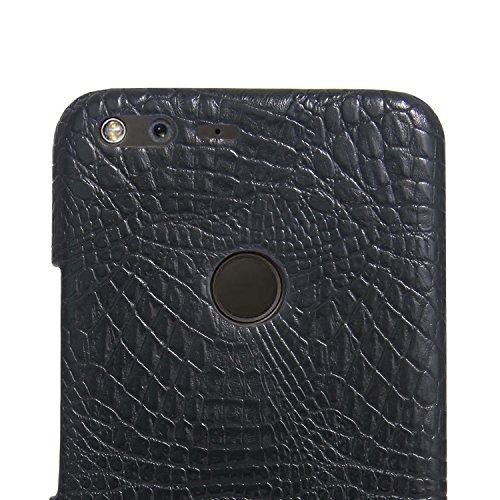 YHUISEN Google Píxel Caso, Patrón de piel de cocodrilo clásico de lujo [Ultra Slim] Cuero de PU Anti-rasca la cubierta dura de la caja protectora de la PC para Google Pixel (5.0 pulgadas) ( Color : Bl Black