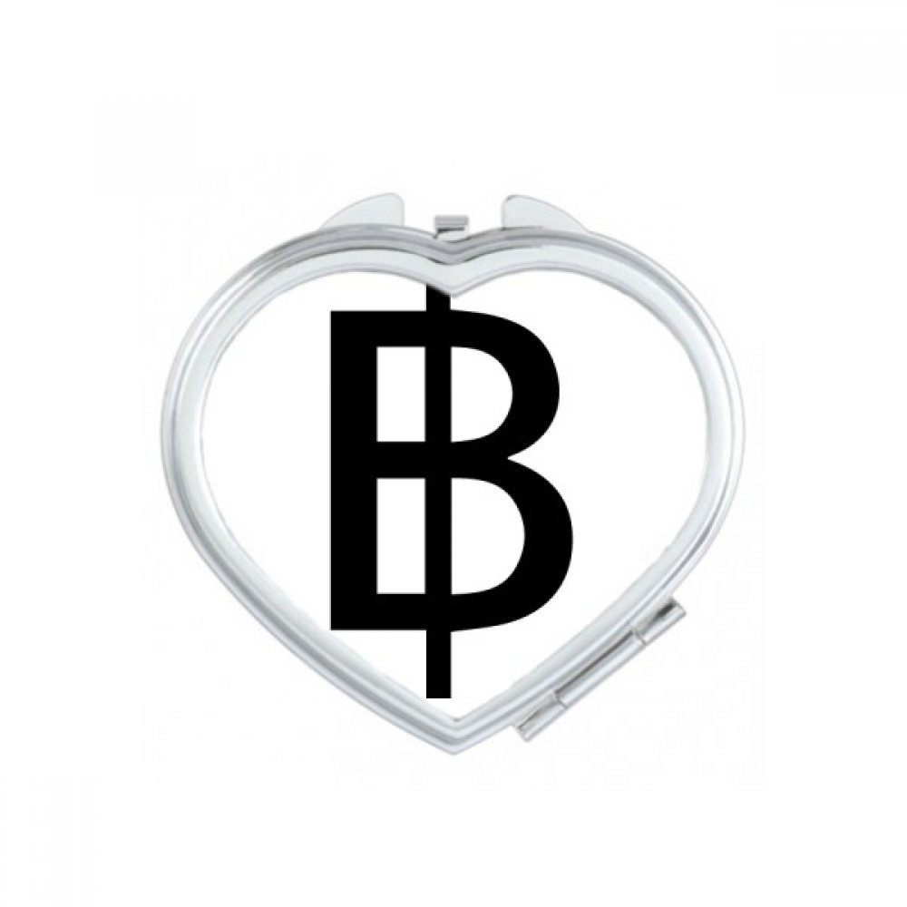 DIYthinker Currency Symbol Thai Baht Heart Compact Makeup Pocket Mirror Portable Cute Small Hand Mirrors Gift by DIYthinker