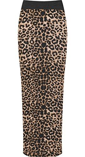 WearAll Womens Multi Elasticated High Stretch Waist Maxi Long Skirt - Brown Leopard - US 8-10