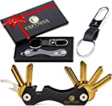 Compact Key Organizer Keys Holder Keychain Made of Carbon Fiber Smart Bottle & Sim Opener Premium Pocket Key Chain Carabiner up to 24 Keys - Loop Piece for Car FOB - Great Gift for Mens (Carbon fiber)