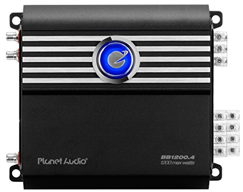 Planet Audio BB1200.4 Big Bang 1200 Watt, 4 Channel, 2 Ohm Stable Class A/B, Full Range, Bridgeable, MOSFET Car Amplifier with Remote Subwoofer Control