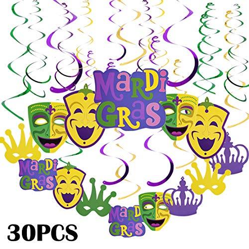 Mardi Gras Party Supplies Decor Hanging Swirl Decorations Kit Crown Mask Cutouts Value Pack 30 PCS