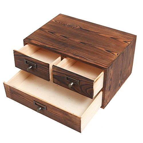 MyGift Small Rustic Dark Brown Wood Office Storage Cabinet/Jewelry Organizer w/ 3 Drawers by MyGift (Image #1)