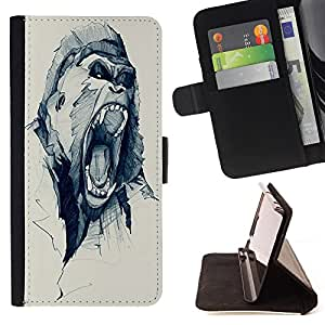 King Art - Premium-PU-Leder-Prima caja de la PU billetera de cuero con ranuras para tarjetas, efectivo Compartimiento desmontable y correa para la mu?eca FOR Apple Iphone 5C- Gorilla Funny Pattern