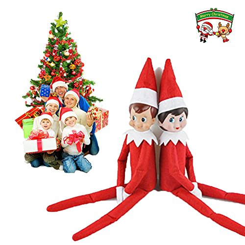 Treemoo Christmas Plush Toy Doll, Elf on the Shelf (Red Girl and Boy)