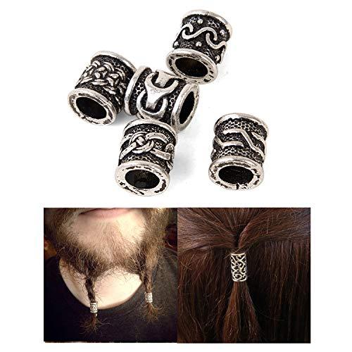 Silver Pin Hair Tibetan (Viking Rune Beads for Hair Accessories-Viking Beard Beads for Men Irish Odin Beard Beads Hair Braid Beads Vintage Viking Dreadlock Beads Charm Findings for Paracord Bracelet Jewelry DIY Beads)
