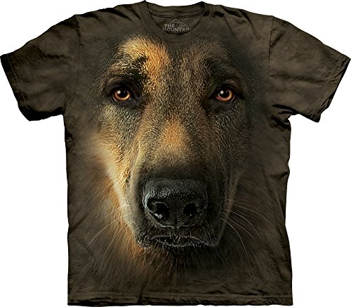 The Mountain Men's German Shepherd Portrait Adult Tee, Gray, - Mens 2012 Fashion