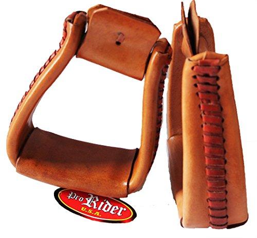 PRORIDER Western Show Horse Saddle Stirrups Leather Covered Angled Aluminum Stirrups 5141