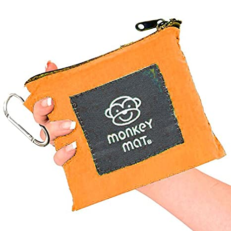 MEGA Monkey MAT Portable Indoor/Outdoor 5'x8' Water/Sand Repellent Blanket with Corner Weights & Loops in Compact Pouch for Beach, Picnic, Baby, Camping, Travel, Concert (Gray Groove)