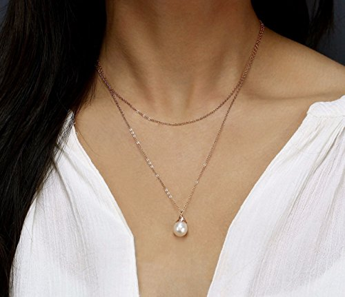 Delicate Layering Necklace, Gold Gemstone Necklace, Double Strand Layered Necklace Set, Single Pearl Necklace, Bridesmaid Gift