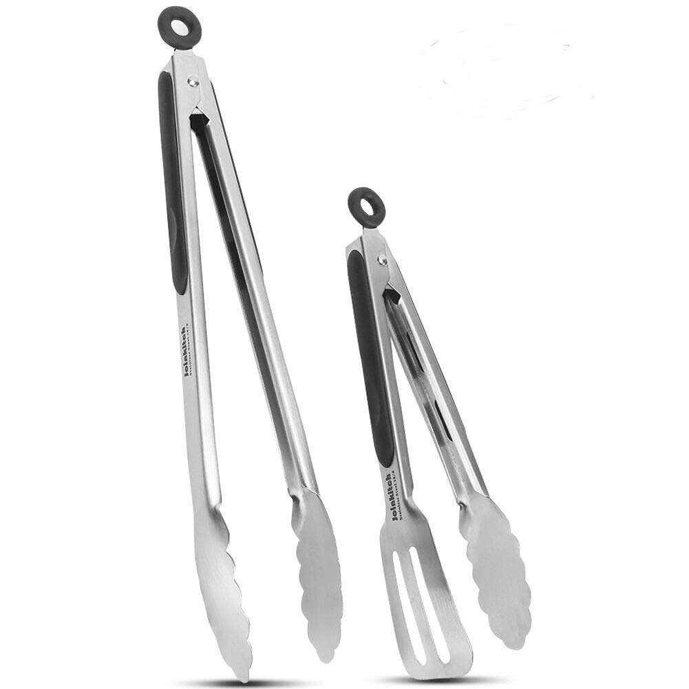 Joinkitch Kitchen Tongs, Stainless Steel Cooking Tongs Set 2 Pack (12-inch.9-inch) with Heat Resistant Handle for Kitchen Outdoor Barbeque Salad Fish Thick Steak HH-FT-001