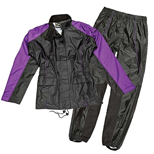 Joe Rocket RS2 Womens 2-Piece Motorcycle Rain Suit (Black/Purple, Large) (Best Waterproof Motorcycle Suit)