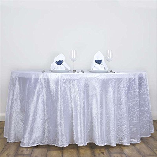 BalsaCircle 117-Inch White Round Crinkled Taffeta Tablecloth Table Cover Linens for Wedding Party Kitchen Dining -